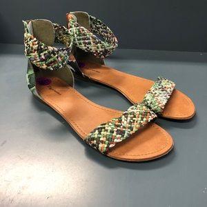 Zigi Soho Braided Sandals olive and coral